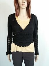 Womens Black Casual Knit Wrap Crop Cardigan Top Plunge V Neck One size AO44