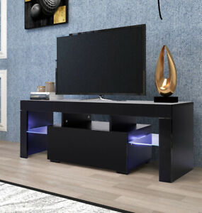 """63"""" TV Stand LED Light 2 Drawers High Gloss Entertainment Center Media Console"""