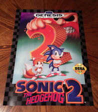 "Sonic the Hedgehog 2 Sega Genesis box case art retro video game 24"" poster print"