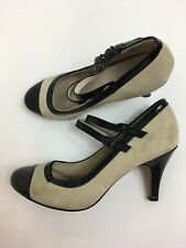 WOMENS TOPSHOP STONE SUEDE BLACK PATENT LEATHER FOOT STRAP HIGH HEEL SANDALS UK5