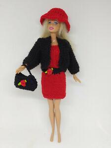 Puppenkleidung passend für Barbie Puppe, Kleid Jacke,Hut Tasche Handarbeit