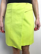 FAB VERONIKA MAINE LIME YELLOW SKIRT SZ 8 LINED FRONT STRETCH SOFT A LINE