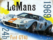 Le Mans 24h 1969 Ford GT40 Gulf Race Car Retro Motorsport, Large Metal/Tin Sign