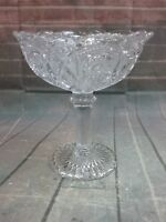 Vintage Imperial beautiful cut glass intricate scalloped edges pedestal dish