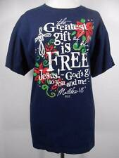 Cool Women's Large Christmas Theme Blue Short Sleeve Shirt w/ Writing: The Great