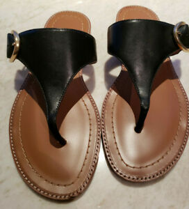 New Genuine Coach Black Leather with Gold Logo Thong Style Flat Sandals