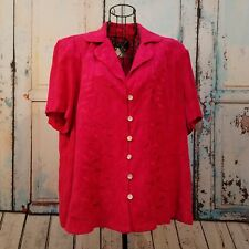 K Studio Woman Pink Button Front Short Sleeved Blouse Embroidered Plus Size 18