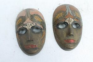 2 PC India Antique Handcrafted Small Painted Mask Rich Patina Collectible NH937