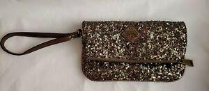 Simply Vera Sequined Clutch Wristlet Bag Excellent Condition Bronze