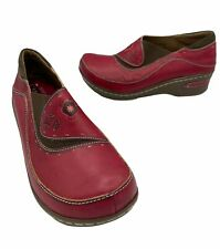 L'ARTISTE By Spring Step Burbank Red Leather Women's Shoes Mule Clog EU38 US 7.5