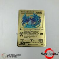 Carte Pokemon Metal Gold / Dracaufeu - Charizard Shiny / EX GX Card Fan Made