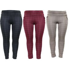 New Plus Size Ladies Checkered Trousers High Waist Womens Skinny Fit Jeggings