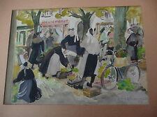 MARCHE DE PONT L'ABBE - AQUARELLE  signée HELENE .PELISSIER 1956