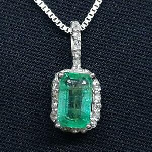 Genuine 1.00ctw Colombian Emerald & H-SI Diamond 925 Sterling Silver Necklace