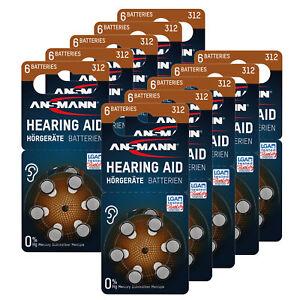 ANSMANN piles auditives taille 312 / PR41 - 60 pcs zinc-air pour aides auditives
