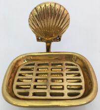 Vintage Solid Brass sea shell Soap Holder Tray Hook Decor Bathroom Ocean Beach