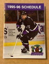1995-96 Minnesota Moose IHL Pocket Schedule Defunt Hockey Team - Stephane Morin