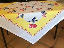 "Apple Cherry New Retro Vintage Style 52"" x 52"" Cotton Tablecloth"
