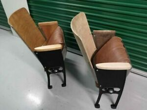 1930s Art Deco Cast Iron and genuine leather Movie Theater Seats Restored