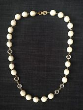 Vintage Signed Givenchy w Swarovski Open Bezel Crystal Baroque Pearl Necklace