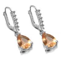 1 Pair Polished Women Pink Sapphire Wedding Party Jewelry Drop Dangle Earrings