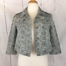 Theory Blazer Cropped Grey Silver Floral Womens Small