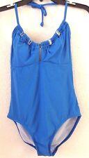 Womens Sz 8 Blue / Gold One-Piece Bathing Suit ANNE COLE Control Nylon/Span NWT