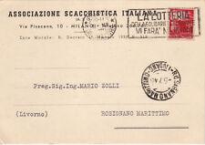 AX0650 - MILANO - PUBBLICITARIA ASSOCIAZIONE SCACCHI ITALIANA VIAGGIATA 1946
