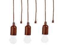 Improvements Set of 3 LED Hanging Pull Lights with Batteries, Wood Tone