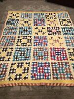 Vintage Folk Art Quilt 77 X 64 Vintage Farmhouse Quilt Colorful Great Shape WoW