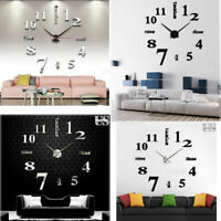 New Modern DIY Large Wall Clock 3D Mirror Surface Sticker Home Office Room Decor