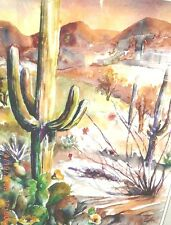 """Orig. Water Color Painting  """"ARIZONA DESSERT"""" Artist Signed  22""""x 30"""" Double Mat"""