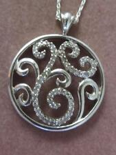 "SIGNED HENG NGAI STERLING SILVER & DIAMOND SCROLL PENDANT & 18""  CHAIN NECKLACE"