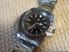 Explorer II style watch, military dial, stainless band, rolex crown