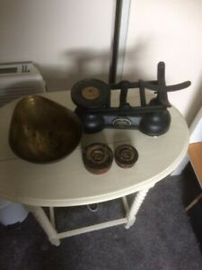 Antique Salter weighing scales Black body with Brass pan