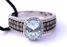 LeVian Ring Aquamarine Chocolate Diamonds 1.57 cttw 14k white gold New size 7