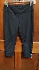 Zella Black Stretch Reflective Flat Front Yoga Exercise Athletic Crop Pants Sz M