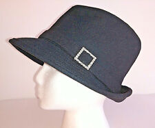 H   M Hat Fedora Trilby Womens Size S M Black Wool With Rhinestones on Band c5530595a0c
