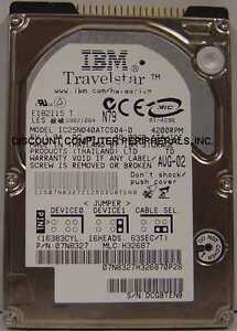 """IBM IC25N040ATCS04-0 40GB 2.5"""" 9.5mm IDE 44pin Drive Tested Good Our Drives Work"""