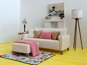 1/6 scale doll Sofa in Ivory, matching ottoman, small blanket, pillows, rug