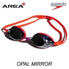 SPEEDO OPAL MIRROR COMPETITION RACING SWIMMING GOGGLES, FLURO ORANGE PURPLE