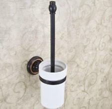 Oil Rubbed Bronze Toilet Brush set With Ceramic Cup Holder Bathroom Accessories