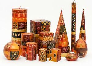 KAPULA - FAIR TRADE SOUTH AFRICAN HAND PAINTED CANDLES - ' SAFARI GOLD DESIGN '