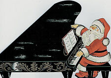 Vintage XMAS Card SINGING SANTA CLAUS PLAYS MUSIC ON A FANCY GRAND PIANO Die Cut