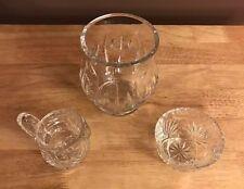 Set of Crystal Creamer, Sugar Bowl and Candy/Snack Jar