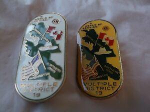 CR32) Pair 1985 Multiple District 19 Dallas Cowboy Hat US Canada Lions Club Pin
