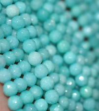 "2pcs 4mm Faceted Natural blue Aquamarine Gemstones Faceted Round Beads 15 """