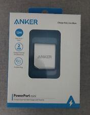 Anker PowerPort Mini 2 Dual Port 12W USB Wall Charger with Foldable Plug NIB