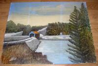 VINTAGE FOLK ART PRIMITIVE COVERED BRIDGE POND LAKE CABIN SNOW COUNTRY PAINTING