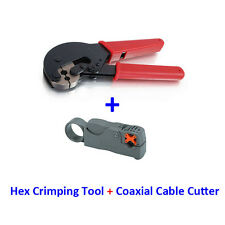 Hex Crimping Tool + Cutter Coax Coaxial Cable Satellite Antenna RG6 RG59 Crimp